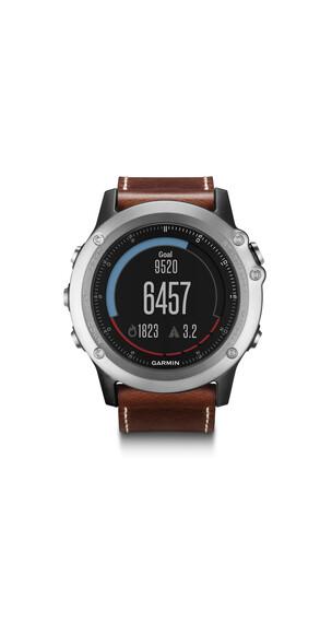 Garmin fenix 3 Saphir GPS Multisportuhr Performer Bundle/Premium HRM-Run+Lederarmband silver